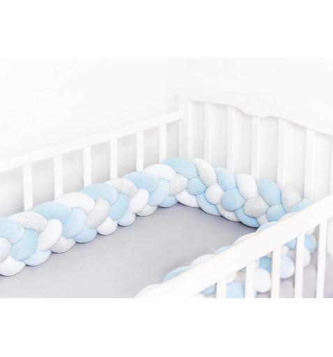Плетёный Бортик в Кроватку Blue