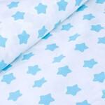 Бязь Голубые Звезды на белом