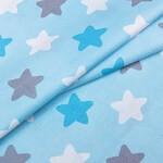 Поплин Цветные Звезды на голубом