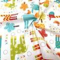 Бязь Цветные Жирафы на белом