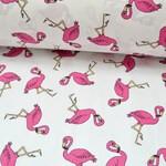 Бязь Розовые фламинго на белом