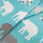 Бязь Серые слоны на бирюзовом