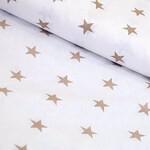Бязь Кофейные Звёзды на белом 150