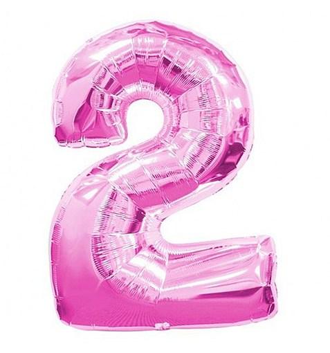 """Шар """"Цифра 2"""" розовый 102см"""