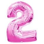 """Шар """"Цифра 2"""" розовый (40''/102 см)"""
