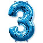"""Шар """"Цифра 3"""" синий (40''/102 см)"""
