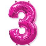 """Шар """"Цифра 3"""" розовый (40''/102 см)"""