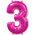 """Шар """"Цифра 3"""" розовый 102см"""