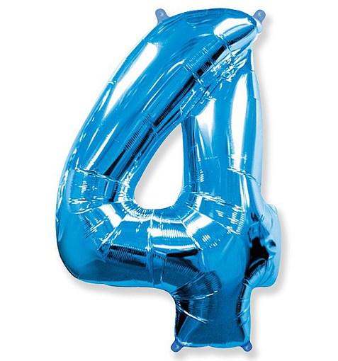 """Шар """"Цифра 4"""" синий 102см"""
