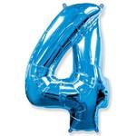 """Шар """"Цифра 4"""" синий (40''/102 см)"""
