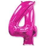 """Шар """"Цифра 4"""" розовый (40''/102 см)"""