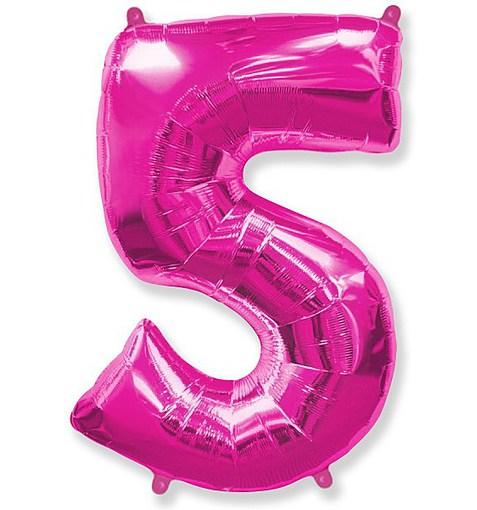 """Шар """"Цифра 5"""" розовый 102см"""