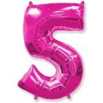 """Шар """"Цифра 5"""" розовый (40''/102 см)"""