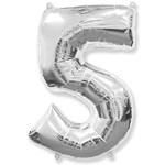 """Шар """"Цифра 5"""" серебро (40''/102 см)"""