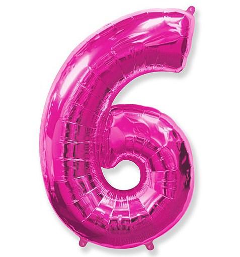 """Шар """"Цифра 6"""" розовый 102см"""