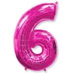 """Шар """"Цифра 6"""" розовый (40''/102 см)"""