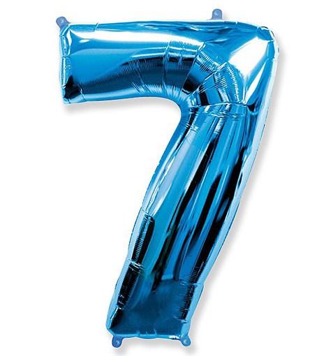 """Шар """"Цифра 7"""" синий 102см"""