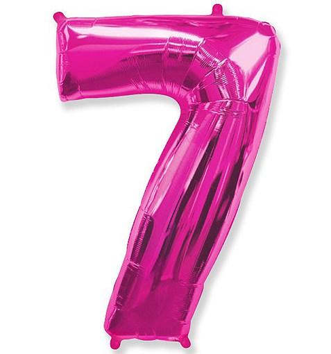 """Шар """"Цифра 7"""" розовый 102см"""