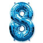 """Шар """"Цифра 8"""" синий (40''/102 см)"""