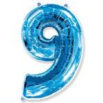 """Шар """"Цифра 9"""" синий (40''/102 см)"""