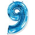 """Шар """"Цифра 9"""" синий 102см"""