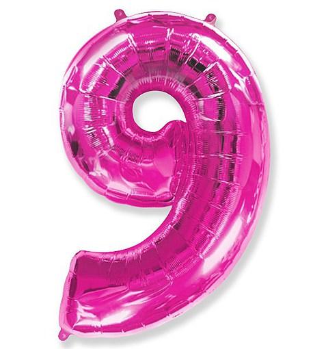 """Шар """"Цифра 9"""" розовый 102см"""
