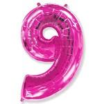 """Шар """"Цифра 9"""" розовый (40''/102 см)"""