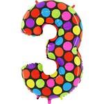 """Шар """"Цифра 3"""" яркие точки (40''/102 см)"""