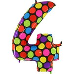 """Шар """"Цифра 4"""" яркие точки (40''/102 см)"""